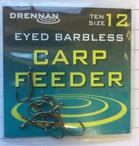 Drennan Barbless Carp Feeder Spade End Hooks Free P/&P