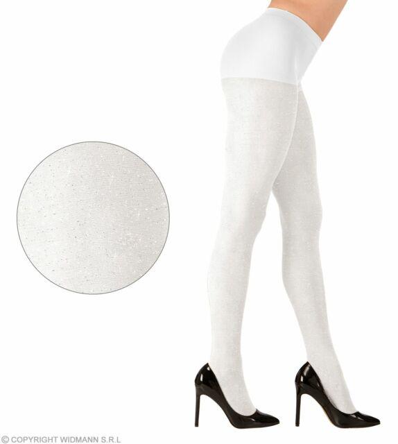 Glitzer Strumpfhose weiß 40 Den Glitzerstrumpfhose Verkleidung Kostüm XL neu