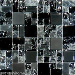 10sf black polish matte square pattern crackle glass