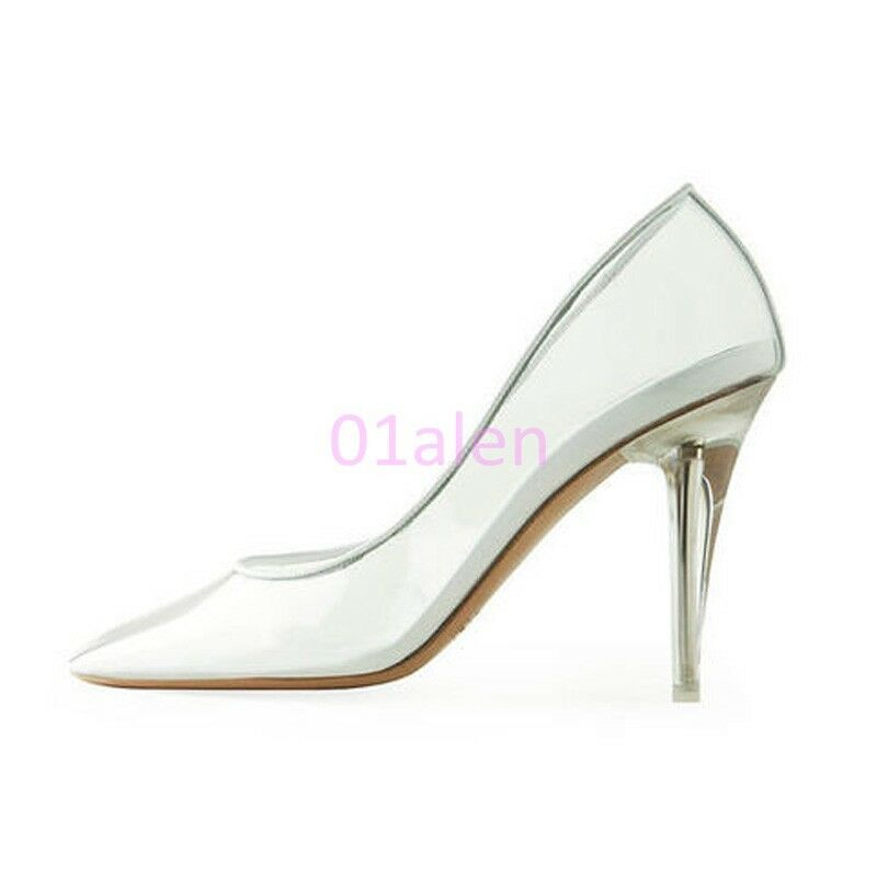 Donna Party SLip On Loafer Classic Pumps Heel Stilettos Clear transparent Party