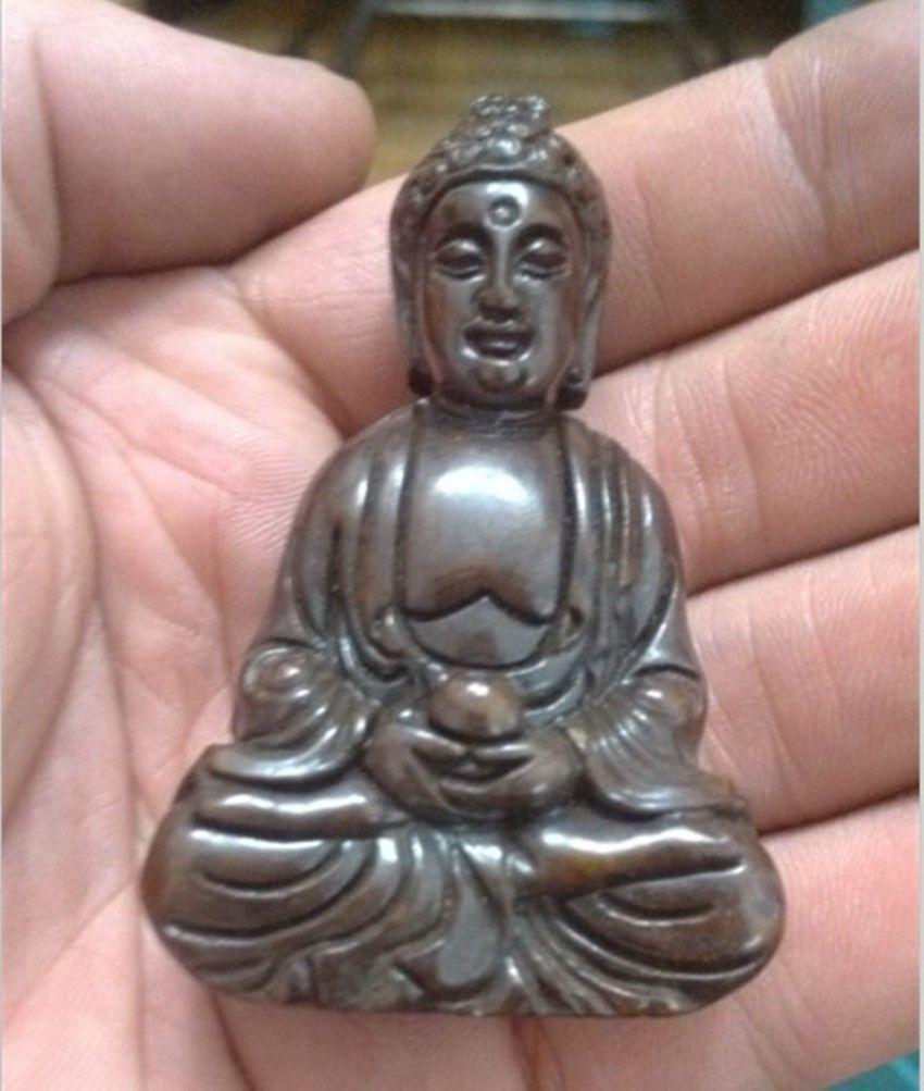 CHINESE OLD HANDWORK GREEN JADE CARVING BUDDHA PENDANT NETSUKE