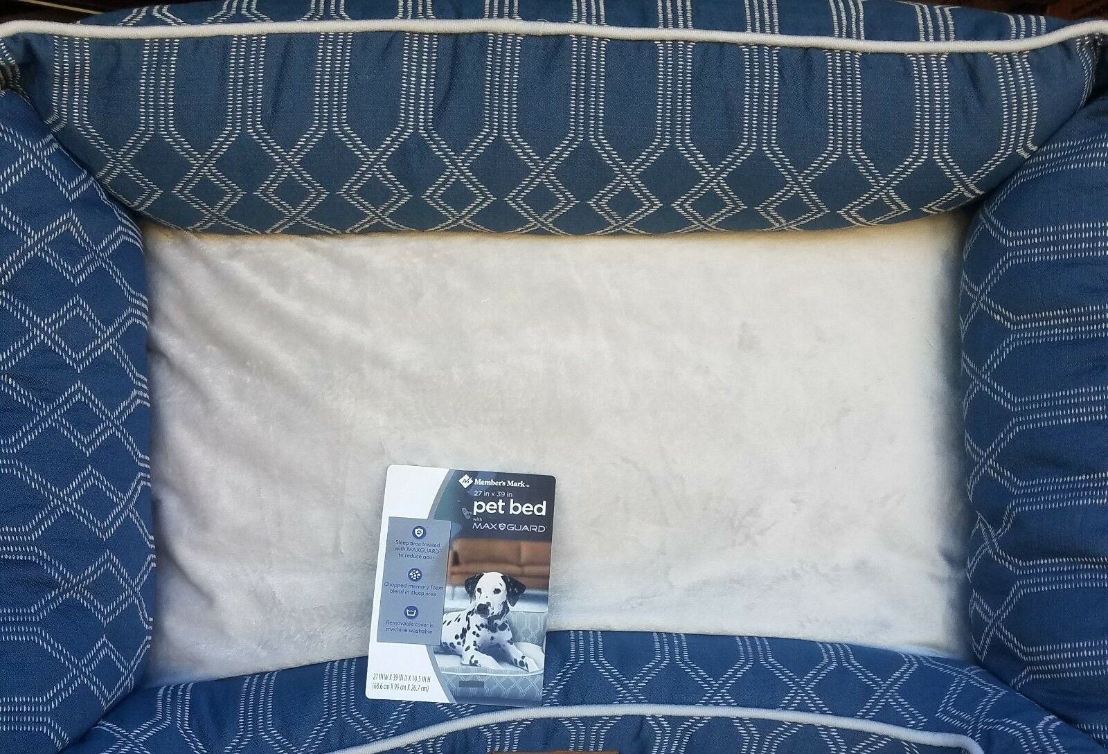 Members Mark Maxguard Large Removable Cover Pet Dog Bed 39  x 27  bluee