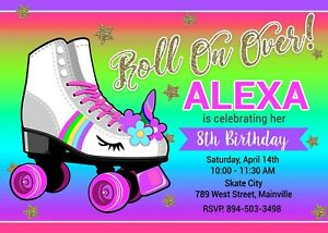details about roller skate invitation unicorn birthday party invite rollerskate rainbow