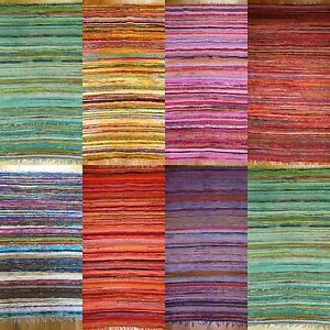 Indian-Lightweight-Rag-Rug-Chindi-Rug-6-039-x4-039-180x120cm-Lots-of-Colours-and-Uses