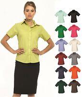 Ladies Womens Business Hospitality Barwear Short Sleeve Poplin Shirt Blouse