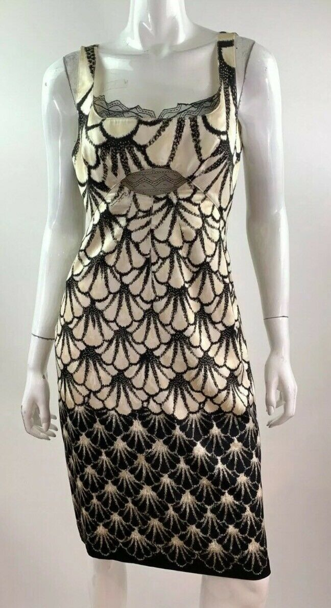 Vestido de Fiesta  Roberto Cavalli Perfecto de seda con acentos de encaje que 40  alta calidad y envío rápido