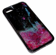 For iPhone 7 - Pink Hearts Glitter Liquid Waterfall Quicksand Black Skin Case