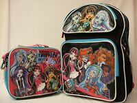 Monster High Large 16 Backpack With Lunch Bag Black Background & Blue Zipper