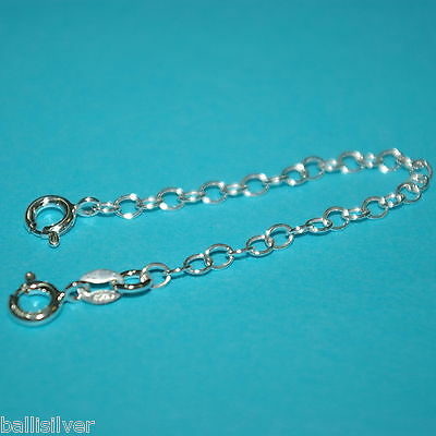 """6 pieces 925 Sterling Silver 4"""" Safety CHAIN EXTENDERS with 2 Spring Clasps Lot"""