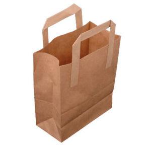 "50x Medium Brown Paper Carrier Bags Size 8x4x10"" Takeaway Fast Food Retail"