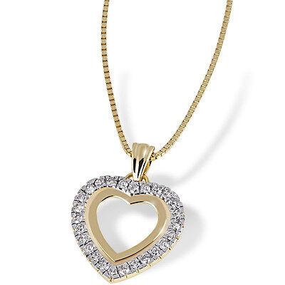 Goldmaid Kette 585 Gelbgold Herz Anhänger Halskette 26 Diamanten Echtschmuck NEU