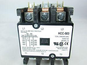 DEFINITE-PURPOSE-CONTACTOR-50AMP-3-POLE-COIL-240-VAC-50-60Hz-A-C-amp-REFRIGERATION