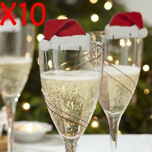 Christmas-Decorations-Hats-10pcs-Champagne-Glass-Decor-Paperboard-Party