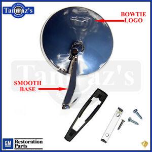 Chevy-Chrome-Round-BOWTIE-Rear-View-SMOOTH-Base-Door-Side-Mirror-amp-Hardware