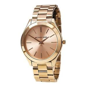 New Michael Kors Rose Gold Stainless Steel MK3197 Women Slim Runway ... 7788e22b52