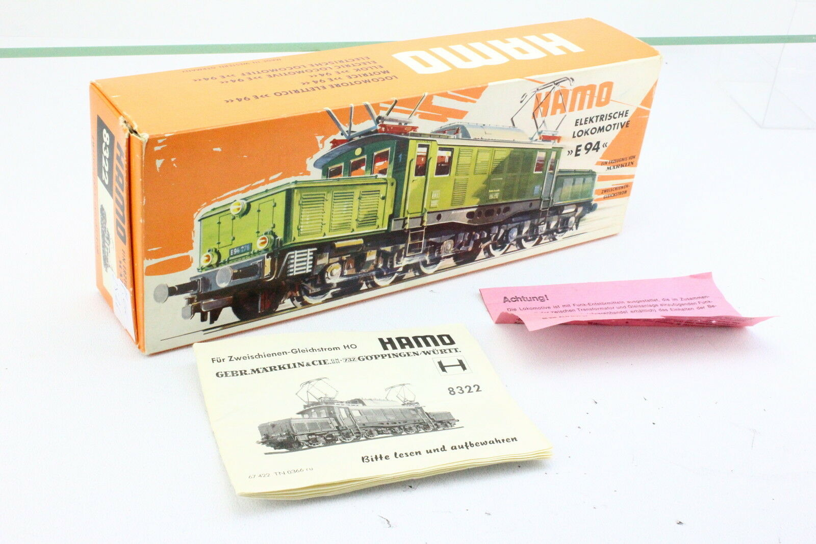 Märklin Hamo 8322 OVP Pictures Cardboard with Guide for BR194 E94 276 DT. Crocodile