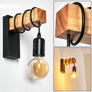 Wand Leuchte Wohn Schlaf Zimmer Lampen Edelstahl-Holz Retro Flur Dielen Strahler