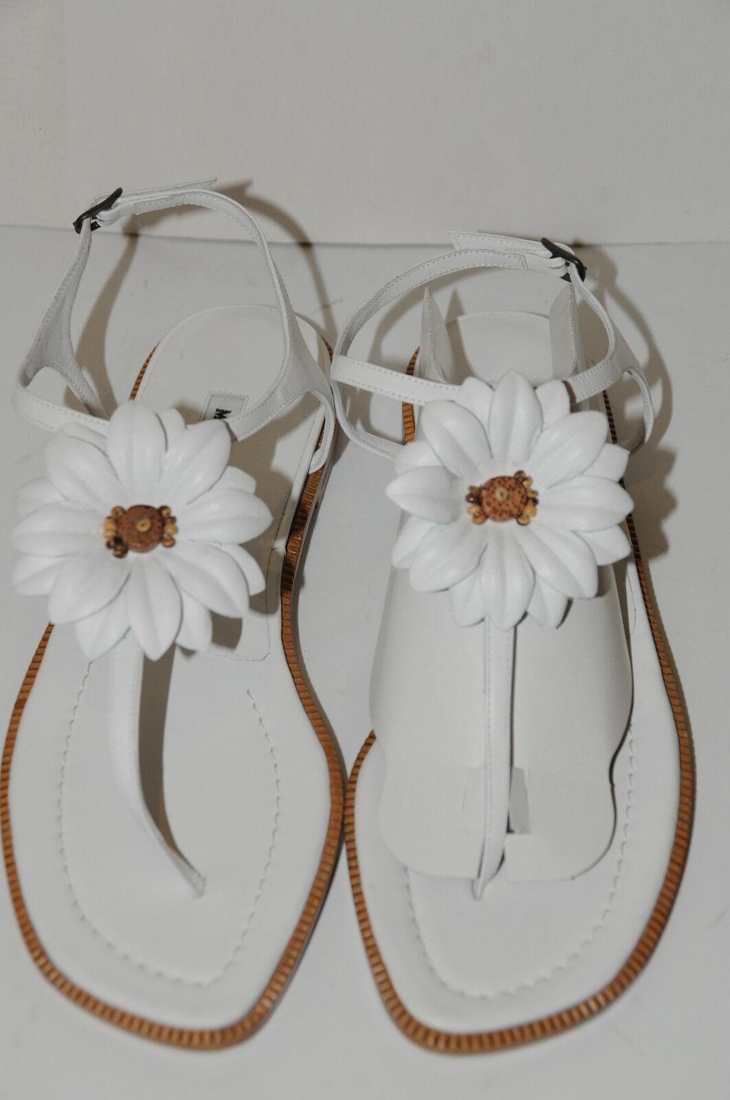 Neuf Manolo Blahnik Crisp Fleur Blanche String Plats Chaussures Sandales 40.5