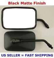 Pair Black Rectangular Motorcycle Mirrors -kawasaki Vulcan 400 500 900 1500 1600