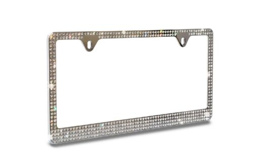 **** 4 ROW White Bling REAL GLASS Crystal Chrome Metal License Plate Frame ****