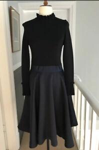 Ted-Baker-Zadi-Navy-Black-Knitted-Bodice-Bow-Midi-Skater-Dress-Size-4-Uk-14