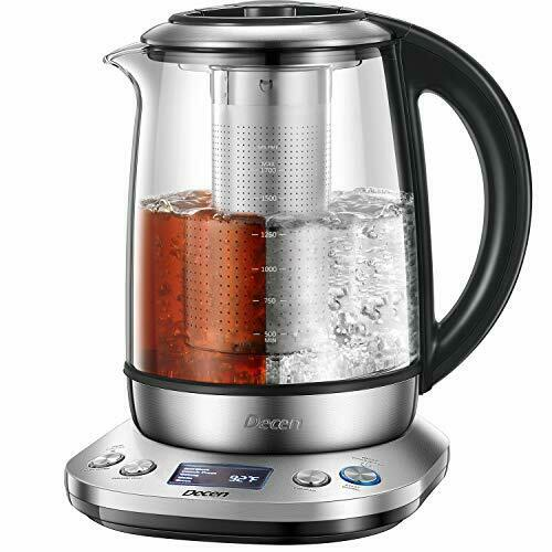 1.7L Tea Kettle with Removable Tea Infuser - LCD Display, Stainless Steel 704078510415