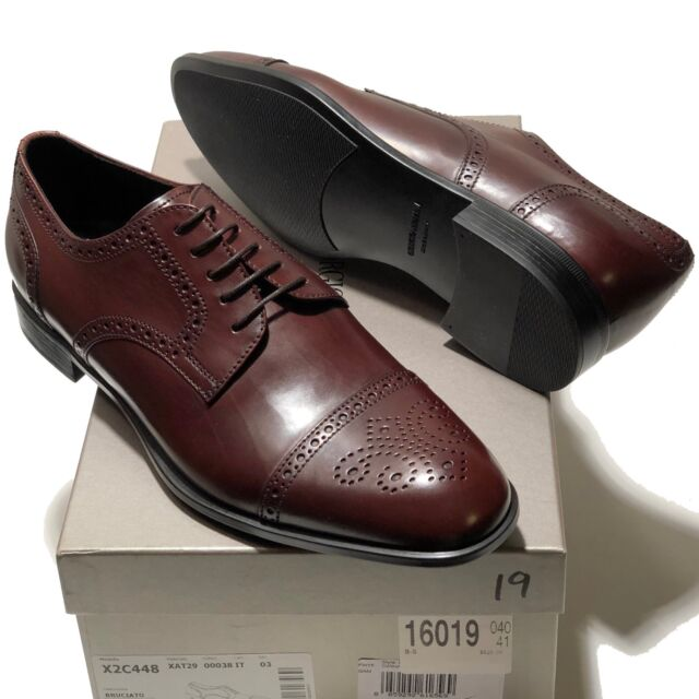 Giorgio Armani Brown Leather Brogue Dress Derby 8 41 Oxford Mens
