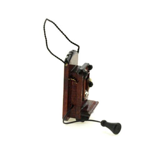 1:12 Miniature wall-mounted telephone dollhouse diy doll house decor accessory^S