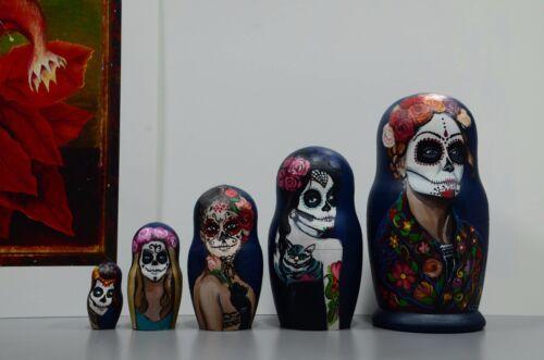 Russian Matryoshka Wooden nesting dolls Catarina Día de Muertos handmade