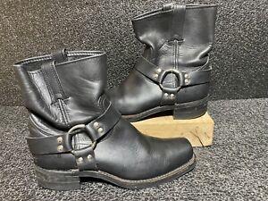 Vintage FRYE Black Leather Harness Biker Boot Size 6