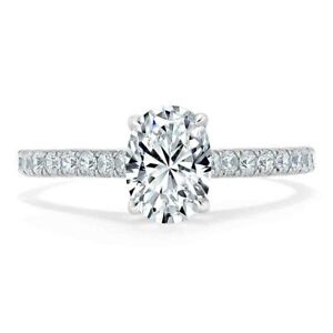 1.30 Ct Oval Cut Genuine Moissanite Wedding Ring 14K Solid White Gold Size 6.5