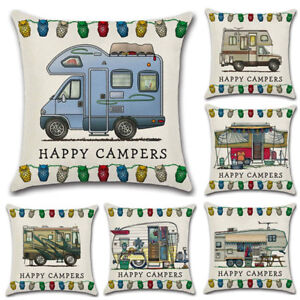 45-45cm-Pillowcase-HAPPY-CAMPERS-Waist-Throw-Back-Cushion-Cover-Pillow-Case