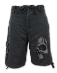 Spiral-Direct-Shadow-Skull-Grey-Vintage-Cargo-Shorts-Metal-Gothic-Tattoo-Biker