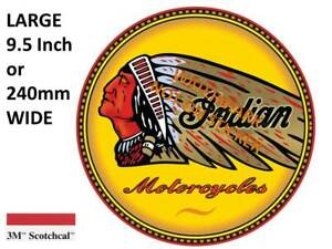 VINTAGE INDIAN MOTORCYCLE DECAL STICKER LABEL 9.5 INCH DIA 240 MM HOT ROD