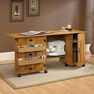 Details About New Sauder Sewing Machine Craft Table Drop Leaf Shelves Storage Bins Cabinets