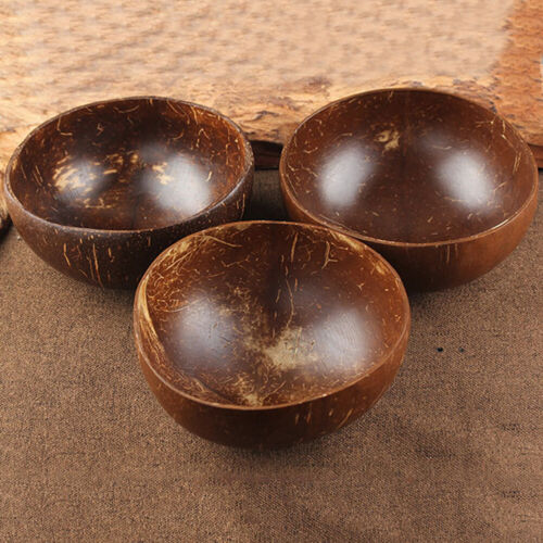 BH/_ Coconut Shell Bowl Spoon Craft Fruit Salad Noodle Rice Food Container Salabl