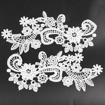 DIY Bridal Costume Decor 1 Pair Flower Motif Embroidered Lace Trim Sewing Crafts