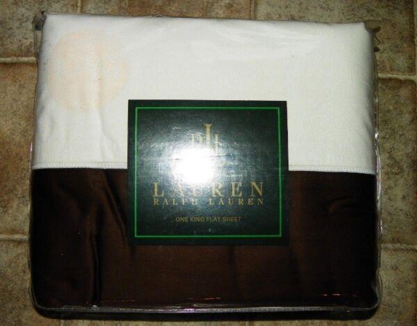 $120 Ralph Lauren King Flat Sheet In Wentworth Cuff Umber - Metropolitan Place Prijs Blijft Stabiel