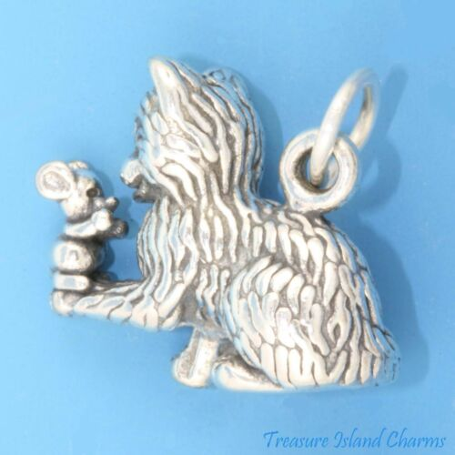 Kitty Chat avec souris Best Friends 3D 925 Solid Sterling Silver Charm Made in USA