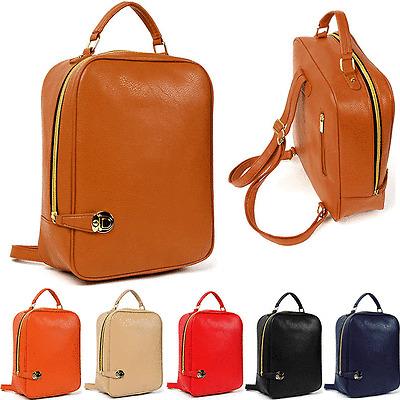 Women's Lady Fashion Zipped Around Cute Backpack Faux Leather Bookbag #J880