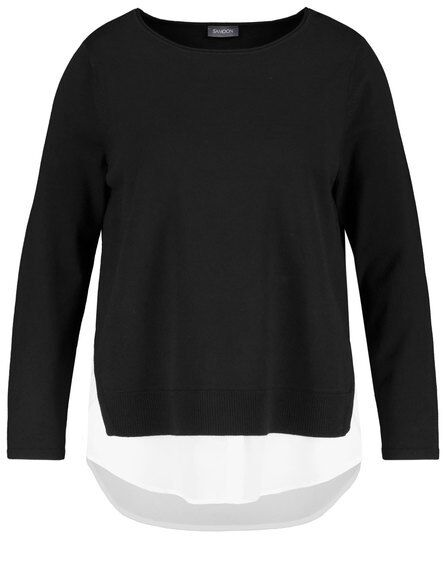 Samoon Pullover con 2 in in in 1 look by Gerry Weber NUOVO NERO-BIANCO DONNA TG. 54 999f63