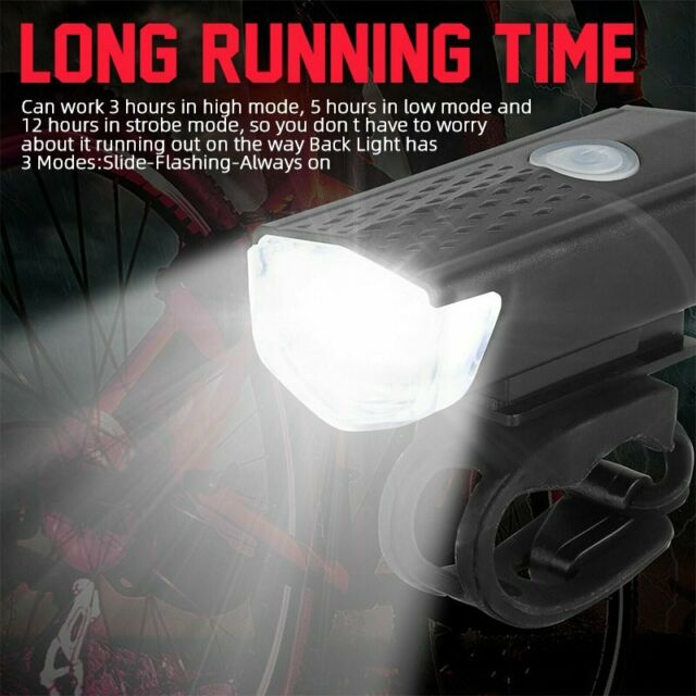USB Rechargeable Bicycle Cycling Bike LED Front Rear Tail Light 5 Mode Back Lamp