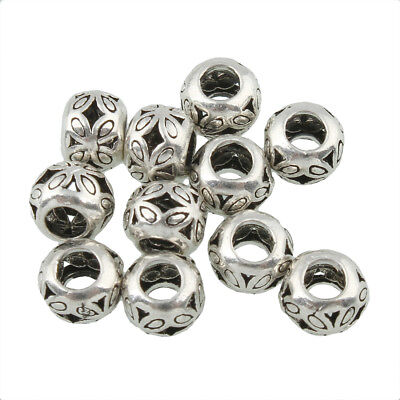 10 x 5 mm Flat .925 Sterling Silver Hollow Spacer Beads Bracelet Charm