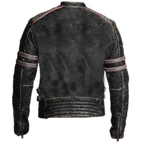 Da Uomo Biker moto vintage effetto anticato Nero Retro Giacca di pelle