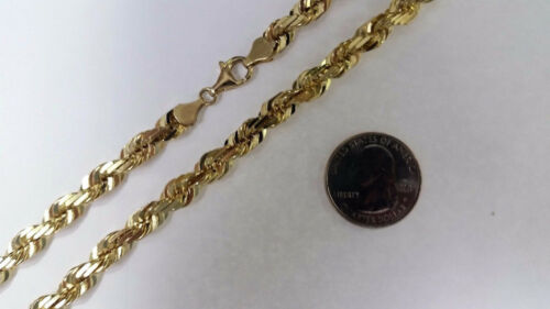 """10K SOLID GOLD YELLOW ROPE CHAIN NECKLACE 1.5MM ~ 9MM 16/"""" ~ 30/"""" FOR MEN WOMEN"""