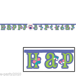 Image Is Loading PATCHWORK OWL BANNER 1st Birthday Party Supplies Room