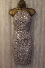 ASOS WEDDING Iridecent Embellished Midi Drape Back Pencil Party Bridal Dress 14