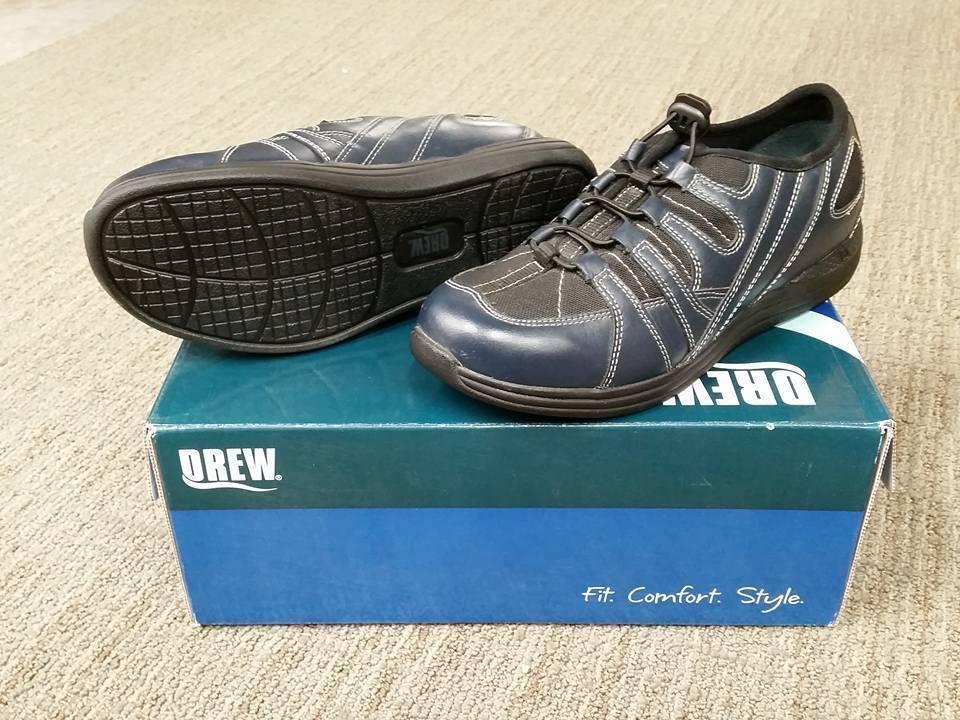 NIB Drew Wouomo Navy Daisy 10209-41 Casual scarpe Bungee Laces Dimensione 10.5