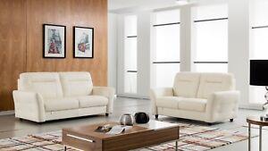 Image Is Loading 3 Pc Italian Top Grain White Leather Sofa