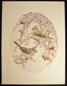 Christmas Card Artist.Details About Vintage Christmas Greeting Card Embossed Snowy Songbirds Artist Stephen Leed